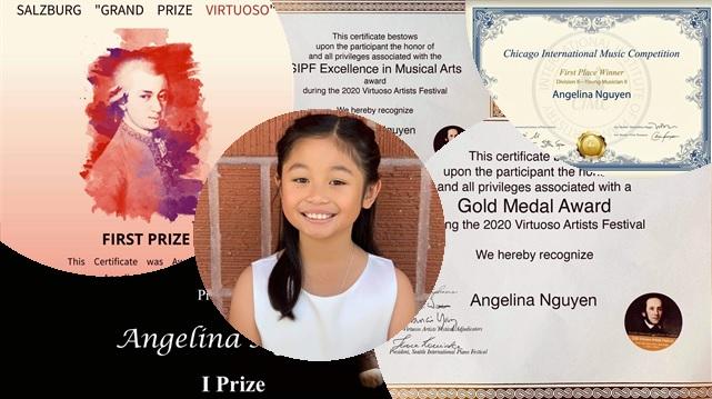 Collage of Angelina Nguyen's accomplishments in 2020