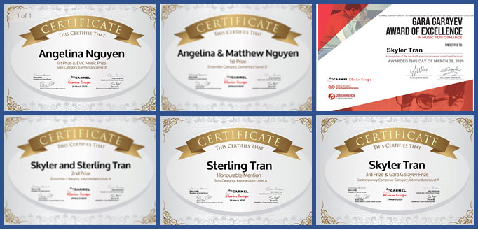 Collage of certificates awarded to Little Chopin students in 2020